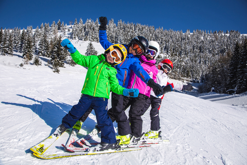 Winter ski family